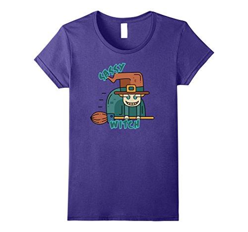 [Womens Sassy Witch Creepy Angry Witches Halloween Costume Shirt Large Purple] (Sassy Pumpkin Witch Costumes)
