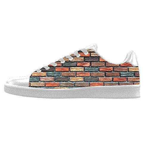 Sopra Men's In Custom Da Del Alto Delle Le I Shoes Tela Muro Struttura Di Canvas Lacci Ginnastica Mattoni Scarpe wwXBq6A