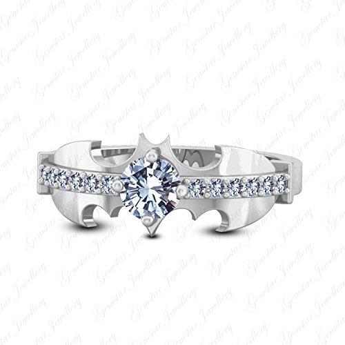 Gemstar Jewellery Brilliant Round Cut White Simulated Diamond 14K White Gold Finishing Batman Ring