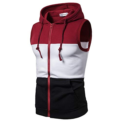 iHPH7 Vest Mens Workout Hooded Tank Tops Sleeveless Gym Hoodies Casual Mixing Colour Zip Hooded Sleeveless Vest Top Blouse M Red