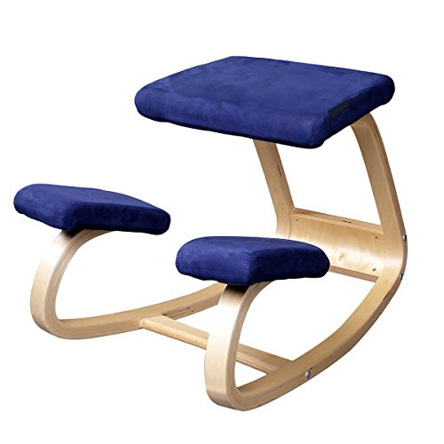 Ergonomic Kneeling Chair Better Posture Kneeling Stool for Body Shaping and Relieveing Stress, Home and Office Wooden Orthopedic Stool (Blue)