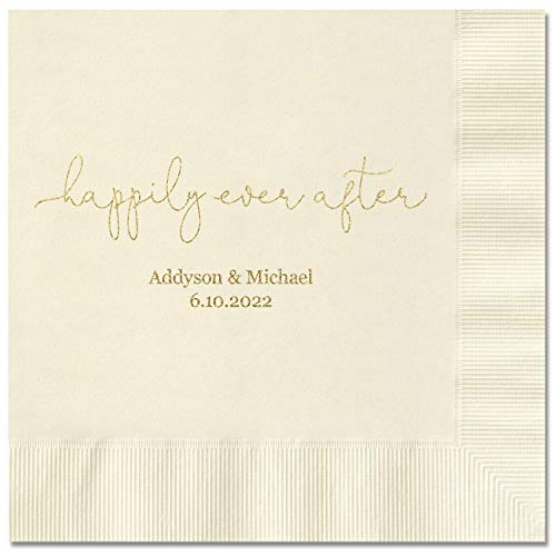 (Canopy Street Happily Ever After Personalized Luncheon Napkins - 100 Ecru Paper Coined Napkins with a Choice of foil. 6 1/2'' x 6 1/2'' Folded, Made in The USA)