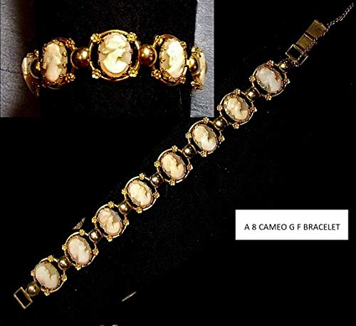 1 Vintage 8 Cameo Bracelet of Hand Carved Cameos Exquisite & Each Different Ornated Pronged Marked Sannartino Bros 12K Gold Filled Bracelet ()