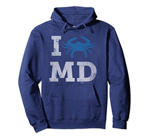 Blue Adult Md Apparel (Unisex Vintage I Blue Crab MD Maryland State Flag Pullover Hoodie Large Navy)