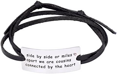 O.RIYA Side By Side Or Miles Apart We Are Cousins Connect By The Heart Leather Bracelet