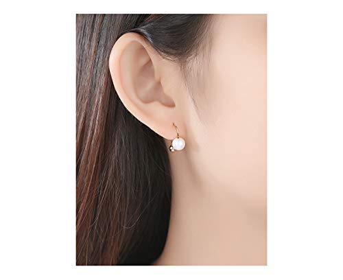 Woman 6.5-7mm Quality Round Cultured Freshwater Pearl Earrings 18k Yellow Gold/Rose Gold Earring for Wife Girls, Gold ()