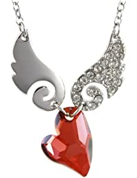 Cupid Swarovski Elements Heart Shaped Crystal Sparkling Wing Rhodium Plated Necklace