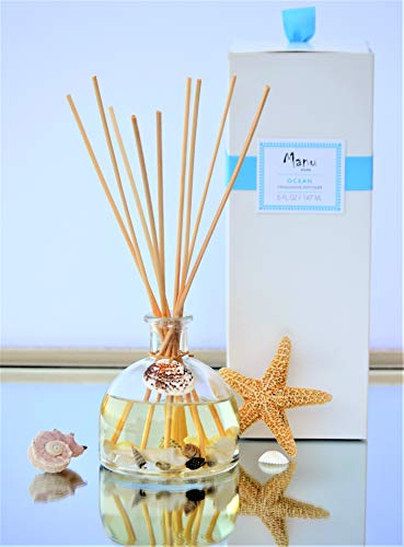 Manu Home NEW! Ocean Oil Reed Diffuser ~ 5oz of FRESH Diffusing Fragrance ~ Beautiful Ocean Décor & Ocean Breeze Scented Diffuser ~ The Scent is Fresh ~ Beach Decor Perfect for Home or Office ~ Nautical Décor ~ Made With Natural Shells ~ Great Gift Idea for Birthdays, Housewarming and Weddings~ OCEAN DECOR with FRESH SCENT