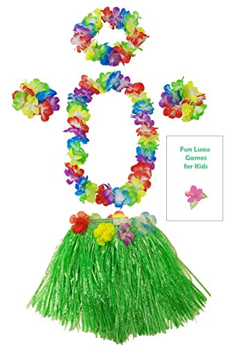 Kids Grass Hula Skirt for Luau 5 Piece Set with Flower lei Necklace Bracelets Headpiece + Fun Games (Green) -