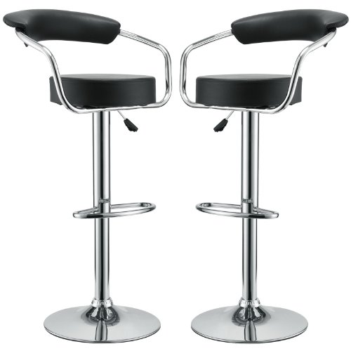 Modway Diner Retro Faux Leather Adjustable Bar Stools in Black - Set of 2