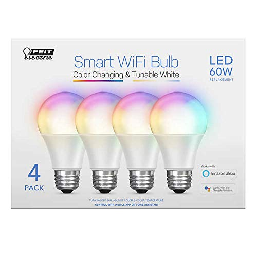 Innovative Reliable 800 Lumens 60 Watts Replacement Color Changing and Tunable White Voice Controlled with Amazon Alexa and Google Assistant FEIT WiFi Smart Bulbs 4-Pack
