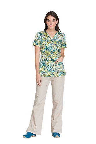 324d0ba8cbaf46 Cherokee Fashion Prints Women's V-Neck Side Panel Animal Print Scrub ...