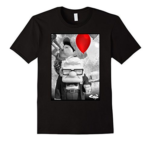 Mens Disney Pixar UP Carl Russell Trumpet Red Balloon T-Shirt XL Black