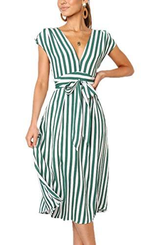 Aromelle Womens Summer Dresses Boho Striped Button V Neck Sleeveless Bow Tie Waist A Line Midi Skater Dress Green S