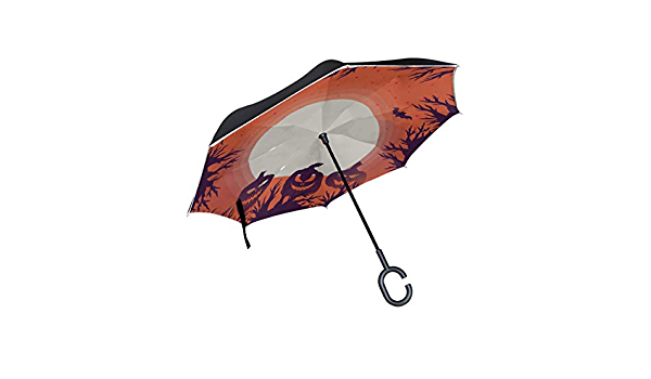 Reverse Folding Umbrella for Car Double Layer Inverted Umbrellas with Halloween Octopus Tentacles Gothic Print