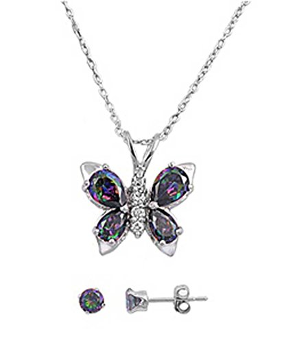 Sterling Silver MYSTIC SIMULATED RAINBOW TOPAZ BUTTERFLY PENDANT w/ Earring Combo Set - Butterfly Necklace Rainbow