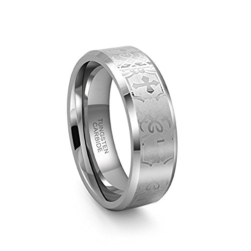 GoldWheel Jewelry 8mm Tungsten Carbide Beveled Edge Brushed with Cross Wedding Band Ring for Men or Ladies (9.5)