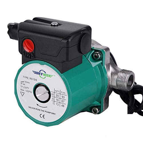 BOKYWOX 110-120V 3/4'',3-Speed Food Grade Domestic Circulation Pump Hot Water Circulator Circulating Pump (RS15-6SG)
