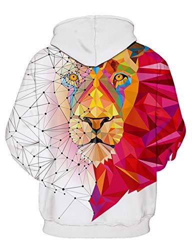 Hoodie Felpa Stampato Unisex Leone Colorato Sweatshirt Tasche Cappuccio Con 3d Coulisse Kamiracoco Casual YqSUCx4w5q