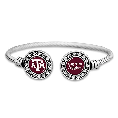Texas Am Aggies Bracelets - FTH Texas A&M Aggies Cuff Bracelet with Double Circle Logo and Chant