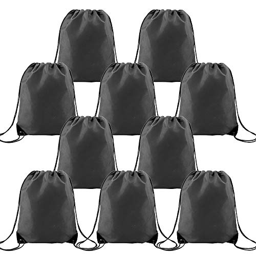 Black Drawstring Backpack Bags Bulk 10 Pieces Large Personalized String pull Bag Perfect for Iron-on Transfer Promotional Sports Gym Cinch Sack Pack (Black) ()