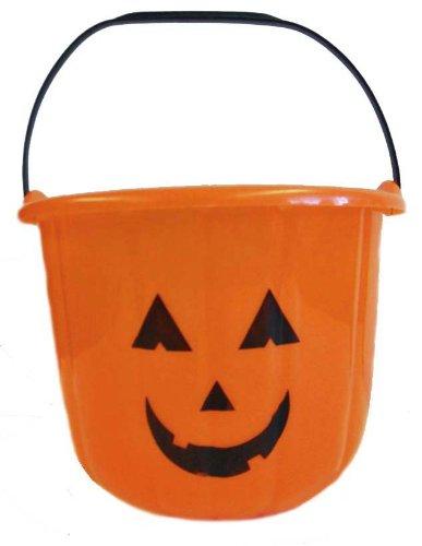 Large Heavy Duty Halloween Pumpkin Bucket - Orange Plastic Candy Pail