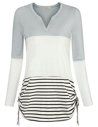 Stripe V-neck Tunic Top (Bebonnie Women Tunic Shirt, Women's V Neck Long Sleeve Splice Tops Print Basic Layer Blouse Casual Pullover Light Grey M)