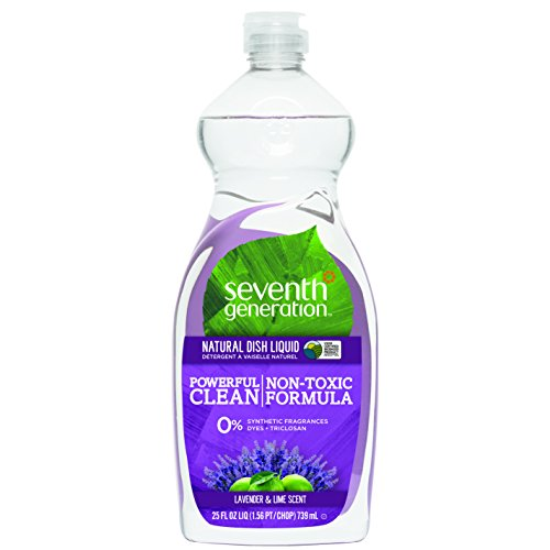 Seventh Generation Natural Dish Liquid, Lavender & Lime Scent, 25-Ounce Bottles (Pack of 6), Packaging May Vary by Seventh Generation