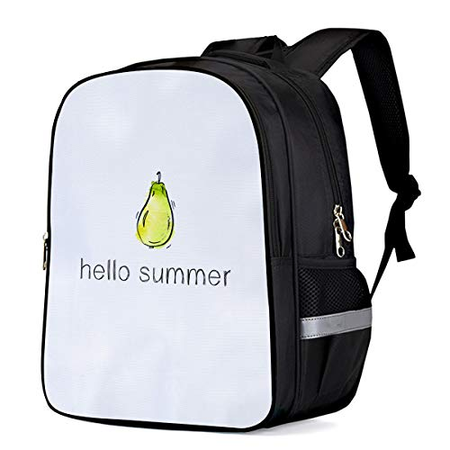Backpack for Teenagers School Bag,Hello Summer Hand Painted Pear Printed Lightweight Laptop Backpacks Kids Student Rucksack-Travel Outdoor Camping-16.1