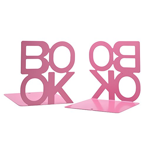 Y-H 1Pair Cute Book Alphabet Shaped Nonskid Bookends Art Bookends Bookend Art Gift (pink)
