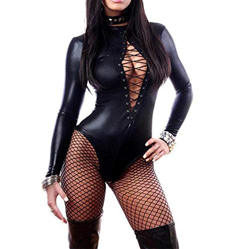 (Wonder Pretty Women's Long Sleeve Lace-up Club Bodysuit Leather Teddy Lingerie (S) Black)