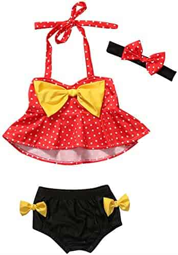203da37234d Summer Girls 1-4Y Bikini Set Swimwear Dot Print Bow Swimsuit+Headband 3Pcs