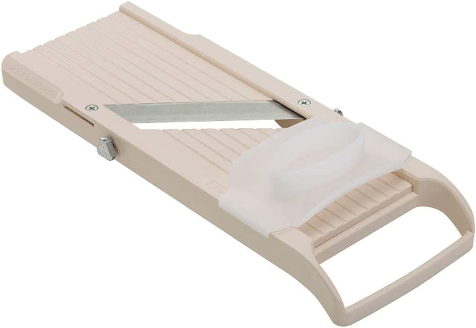 Benriner BN3S Super Standard Madoline Slicer, with with 4 Japanese Stainless Steel Blades, Almond