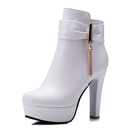 1TO9 Girls Chunky Heels Platform Wheeled Heel Shoes White Imitated Leather Boots - 4 B(M) US (Stretcher Wheeled)