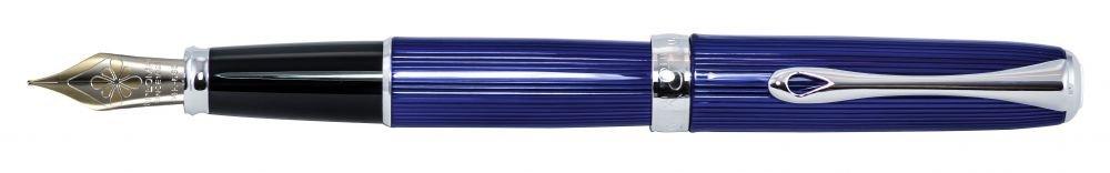 Diplomat D40215015 Excellence A2 Skyline Füllfederhalter mit 14 ct Medium Nib, blau chrom