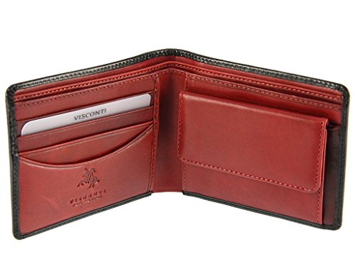 Visconti TR30 Leather Classic Bifold Wallet with Coin Purse made of Veg Tan Leather (Black/ Red)