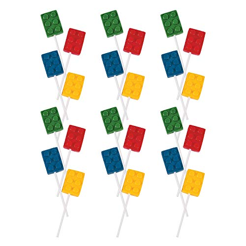 Lego Batman Birthday Party Supplies (Fun Express Color Brick Lollipop Suckers | Assorted Fruit Flavors | 24 Count | Great for Birthday Parties, Holiday Giveaways, Party Favors, School)