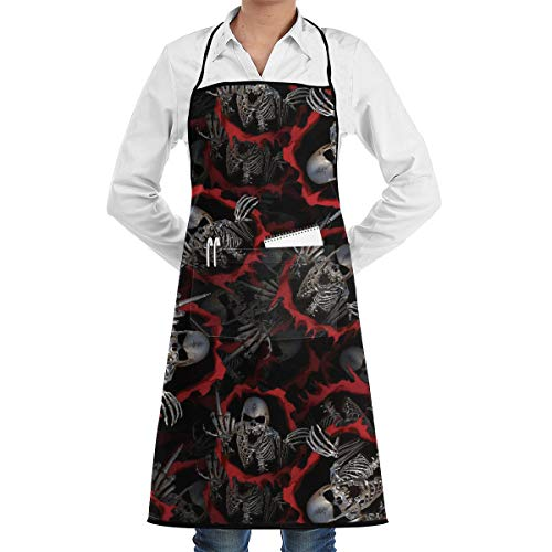 Vicrunning Skeleton Middle Finger Aprons Bib for Mens Womens Halloween Lace Adjustable Adult Kitchen Waiter Aprons with Pockets -