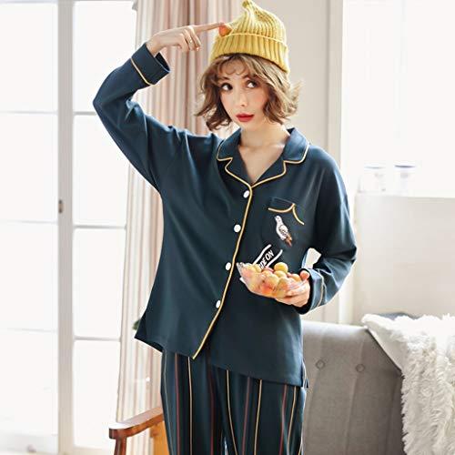 in grande carino allentato da blu servizio pigiama Pigiama casa allentato pigiama di pigiama pigiama cardigan cardigan pigiama pu cotone notte xSCCt1