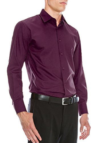 Mens Slim Fit Dress Shirt w/Reversible Cuff L 16-16.5N-32/33S Plum Red Shirt