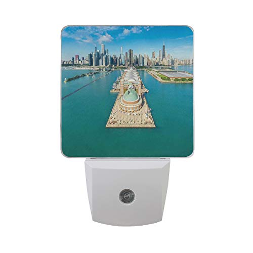 (Colorful Plug in Night,Aerial Panorama of Navy Pier Marine Metropolis Big City Silhouette View,Auto Sensor LED Dusk to Dawn Night Light Plug in Indoor for Childs)