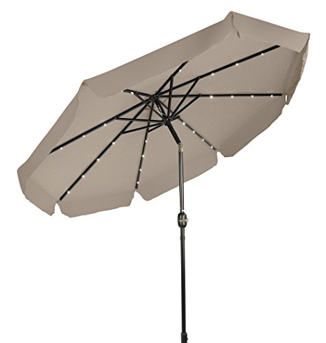 Trademark Innovations Deluxe Solar Powered LED Lighted Patio Umbrella with Decorative Edges - 9' - (Tan) (Tilt Head Umbrella)