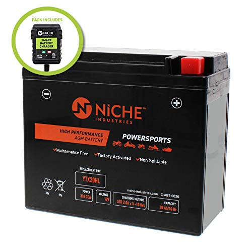 - NICHE AGM Replacement Battery for YTX20HL with 12V 750mA Maintainer Charger| 310CCA, 12V, Factory Activated | ATV, UTV, Snowmobile | For BRP (CAN-AM), BRP (SKI-DOO) & more