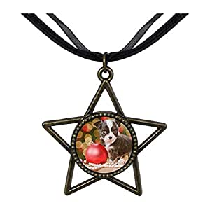 Chicforest Bronze Retro Style Playing Christmas ball cat Five Pointed Star Pendant