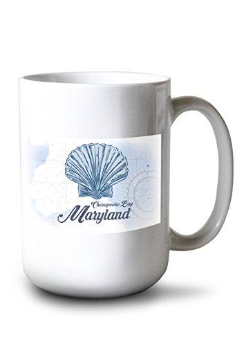 Lantern Press Chesapeake Bay, Maryland - Scallop Shell - Blue - Coastal Icon (15oz White Ceramic Mug)