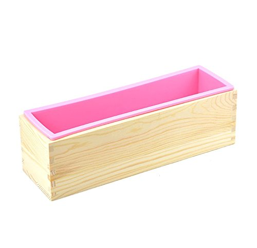 6MILES 1 Pcs Pink Flexible Rectangular Silicone Soap Mold with Pine Wood Box for Homemade Produce 1.2 Kg Art Craft DIY Soap Making Molds Kitchen Tool Set (Large)