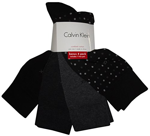 Calvin Klein Men's Casual Dot Crew Socks- 4 Pack, Black, (Calvin Klein Mens Casual Socks)