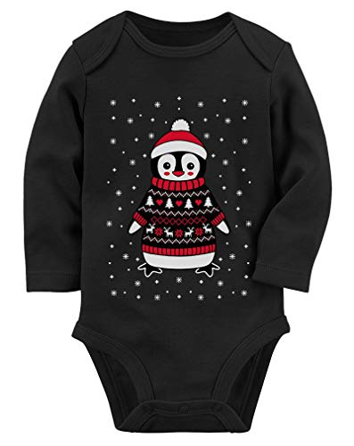 Tstars Cute Christmas Penguin Ugly Sweater for Boys and Girls Baby Long Sleeve Bodysuit 6M (3-6M) Black (Christmas Sweater Make Ugly To Ideas An)