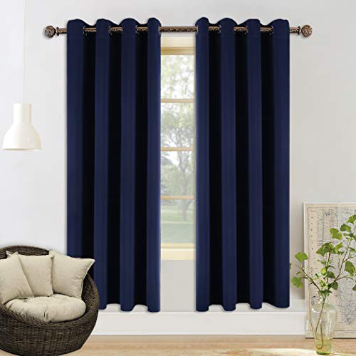 YGO Solid Thermal Insulated Blackout Curtains Grommet Window Panel Drapes Bedroom/Living Room, 52 x 95 Inch, Navy Blue, 2 Panel
