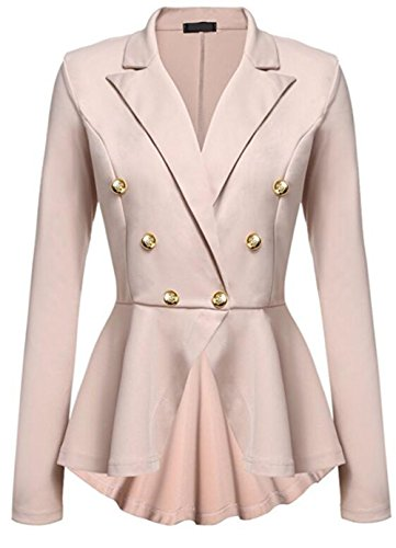 Sleeves Metal Buckle Peplum Frill Women Flared Suit Long Melansay Casual Khaki Coat Double Breasted Work Blazer Jacket Office OwgAc7cqC0